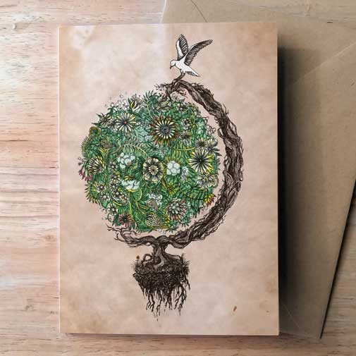 Green world Greeting Card by Barbara Ana Gomez
