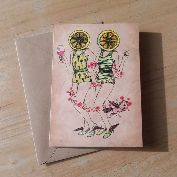 Lemonworld Greeting Card by Barbara Ana Gomez